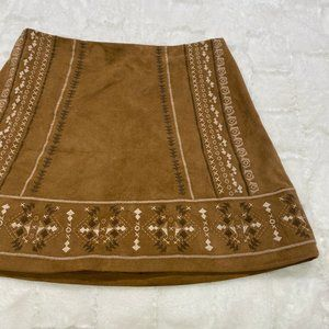 Abercrombie & Fitch Embroidered Suede Tan Skirt 6